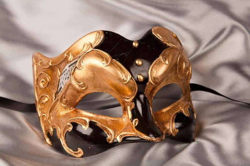 Black Half Face Joker Masquerade Masks with Musical Notes and Gold Leaf - Joker Gold