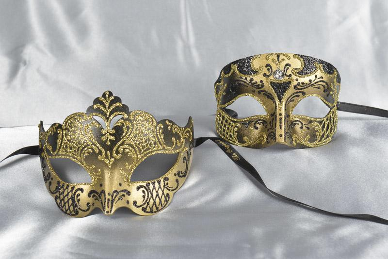 Black Elegant His and Hers Couples Venetian Masquerade Masks - Smoking Giglio Gold