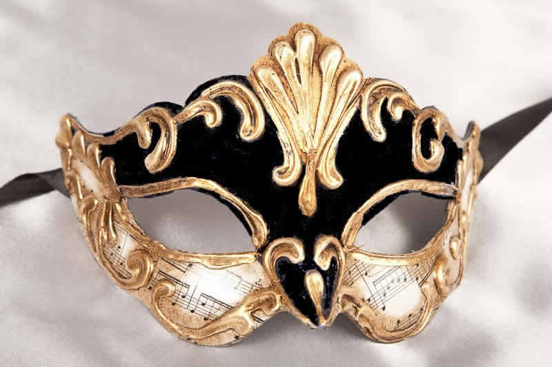 Gold Leafed Venetian Masquerade Masks for Women - Madam Music