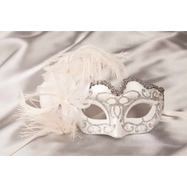 childrens feather mask - Baby Armony silver white