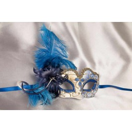 Small feathered masquerade mask - Baby Armony Gold in blue