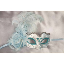 childrens feather mask - Baby Armony silver turquoise