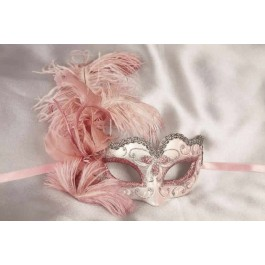 childrens feather mask - Baby Armony silver pink