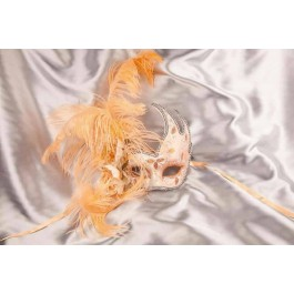 Silver Venetian Swan Masks with feathers in peach