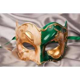 Green and gold Joker face masquerade mask with Venetian scenes