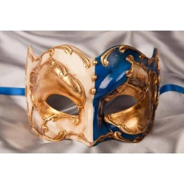 blue and gold Joker face masquerade mask with Venetian scenes