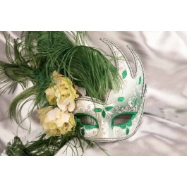 Silver Venetian Swan Masks with feathers in green