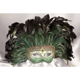 Moulin Rouge feather Mardi Gras mask in green