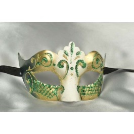 Green White and Gold Venetian Masquerade Mask