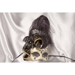 Black and gold trim Venetian jolly mask with feathers and jester bells
