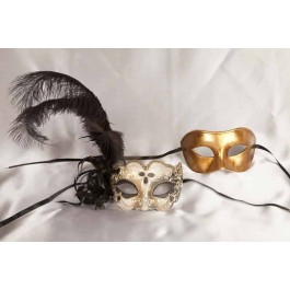 Black Colo Iris Gold - Couples Masks with Feathers