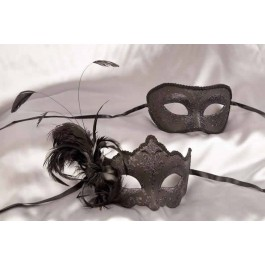 feathered mask and half face mask