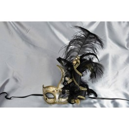 Cigno Armony Gold Venetian Jester Masks with feathers in black