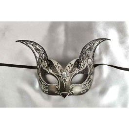 Black Micetto Silver - Luxury Cat Mask with Silver Trim