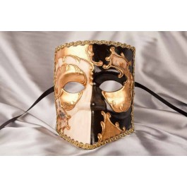 Masked Theatre Masks with Venice Scenes Bauta Double in black