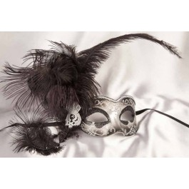 black Side feather mask - Semplice silver