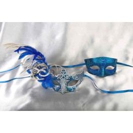 Venetian masks for couples - Blue and silver Tomboy Vanity