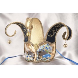Blue Joker Jester Mosaic Gold - Mask with Headdress Bells and Pearls