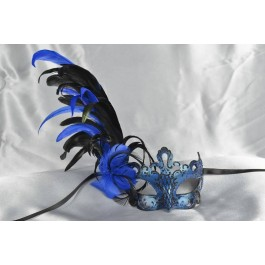 Paper Mache Venetian Mask with feathers in Blue and black