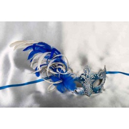 Paper Mache Venetian Mask with feathers in Blue and silver