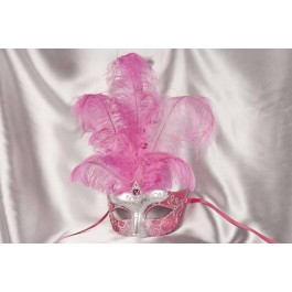 Cerise Pink Struzzo Silver - Ladies Ball Mask with Centre Feathers