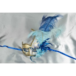 Blue Cigno Duo Gold - Two Colour Feathered Swan Shaped Masks