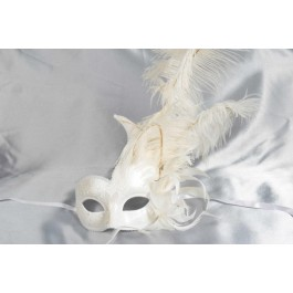 White Cigno Duo Gloss - One Colour Feathered Swan Masks for Women