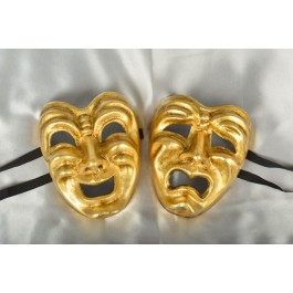 Pair of Comedy Tragedy Masks in Gold Leaf