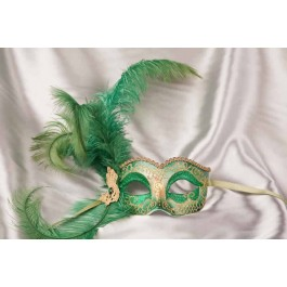 Green Side feather mask - Semplice Gold