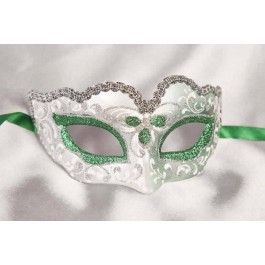 Green Baby Fiore Silver - Small Carnival Masks