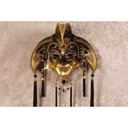 Jolly Uomo Fucina Gold - A Grand Jolly Jester Venetian Wall Mask with Headdress Bells and Crystals