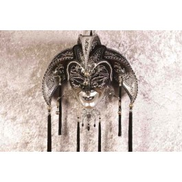 Black Jolly Uomo Fucina Silver - A Grand Jolly Jester Wall Mask with Headdress Bells and Crystals
