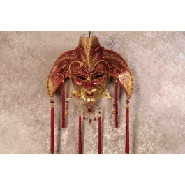 Red Jolly Uomo Fucina Gold - A Grand Jolly Jester Venetian Wall Mask with Headdress Bells and Crystals