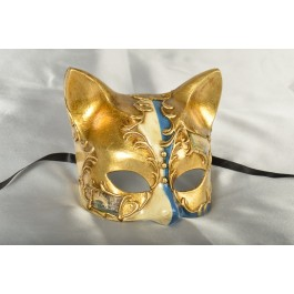 Blue Gatta Double - Animal Kitten Mask with Venetian Scenes | Green or Blue