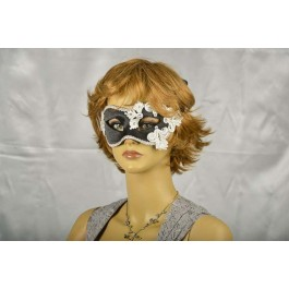 Black and silver satin and lace masquerade mask on female face