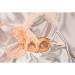 peach Side feather mask - Semplice Gold