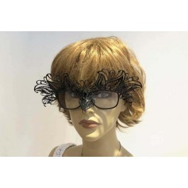Masquerade mask for glasses wearer Petal attached to glasses on female