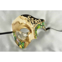 Green and gold Phantom Masquerade Masks with Scenes of Venice
