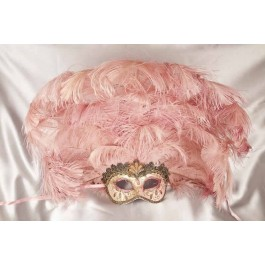 Large feather carnival mask - pink