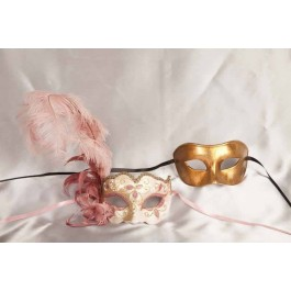 Pink Colo Iris Gold - Couples Masks with Feathers