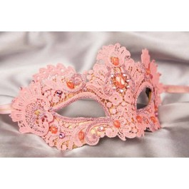 Pink Macrame - Ladies Luxury Lace Mask with Gems and Crystals
