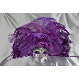 Full feathered Rio carnival mask in purple and silver