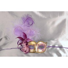 Purple and lilac feathered mask