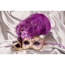Purple and gold trim Venetian jolly mask with feathers and jester bells