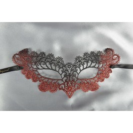 Red Burlesque - Ladies Material Lace Masquerade Mask with Colour Glitter