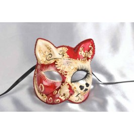 Red Love me Venetian Cat Mask with Hearts