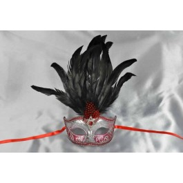 Red womens feathered mask