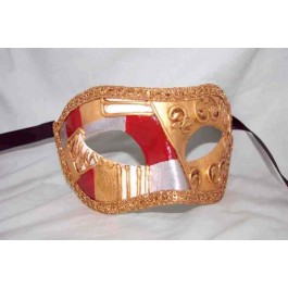 Red Colombina Art Deco - Luxury Masquerade Mask for Men and Women