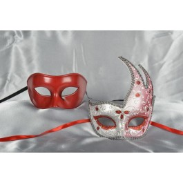 Couples masquerade masks in red and silver