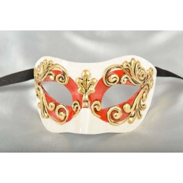 Venetian mask Colombina Occhi in red white and gold